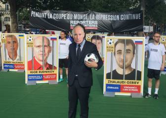 Free speech campaigners take the field in pre-World Cup protest