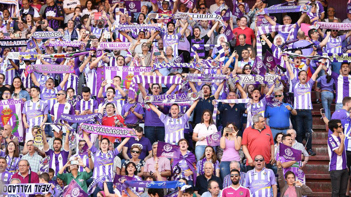 Fans of Real Valladolid  during the La Liga 123 play off match between Real Valladolid and Club Deportivo Numancia