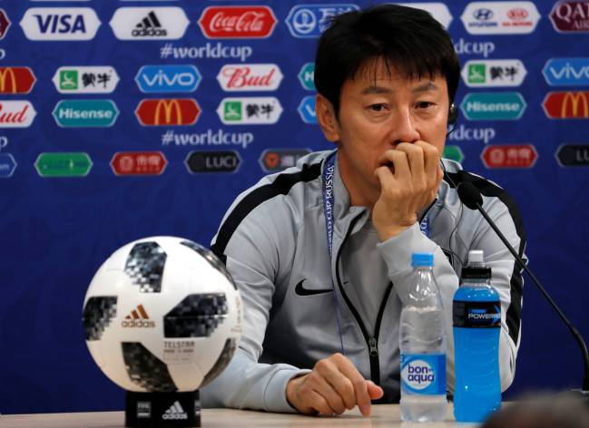South Korea coach Shin Tae-yong during the press conference.