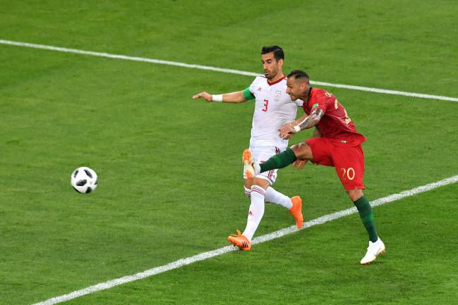 Ricardo Quaresma of Portugal scores his team's first goal during the 2018 FIFA World Cup Russia group B match between Iran and Portugal at Mordovia Arena
