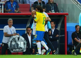 Marcelo limps off with back spasm in Serbia v Brazil