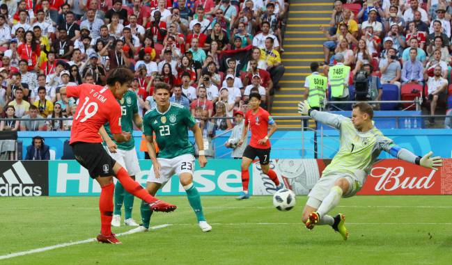 It's all gwon wrong | South Korea's defender Kim Young-gwon scores the opener against Germany.