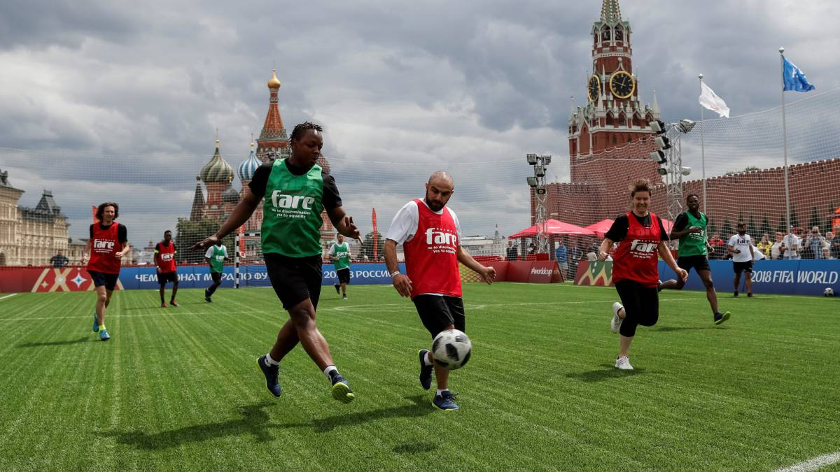Migrants stage their own version of the World Cup on Red Square