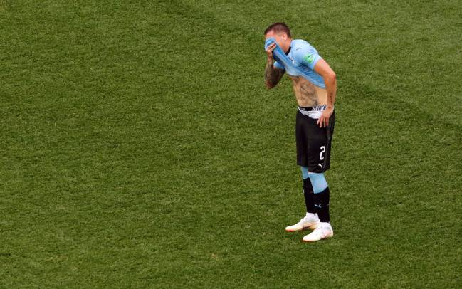 Jose Gimenez can't control his emotions as Uruguay get knocked out of the World Cup.