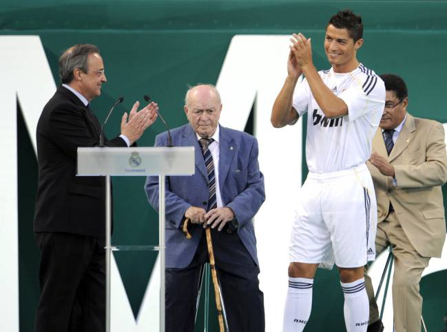 July 6, 2009 | Real Madrid's new player Cristiano Ronaldo applauds next to Real Madrid president Florentino Perez, Alfredo Di Stefano and Eusebio.