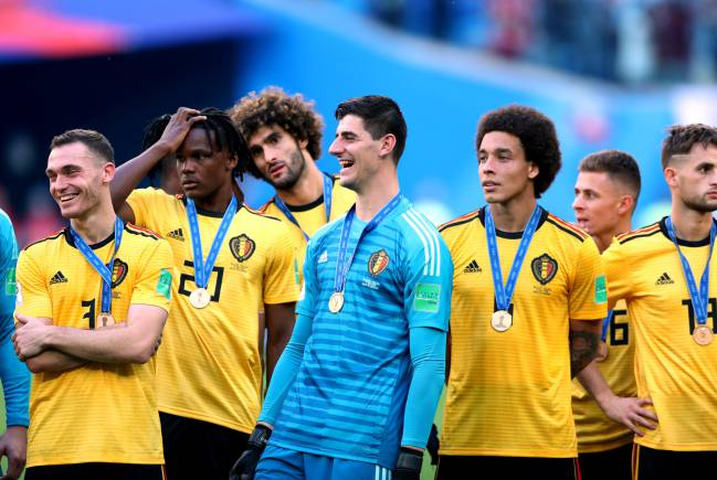 Thibaut Courtois of Belgium celebrated victory following the 2018 FIFA World Cup Russia 3rd Place Playoff match against England.