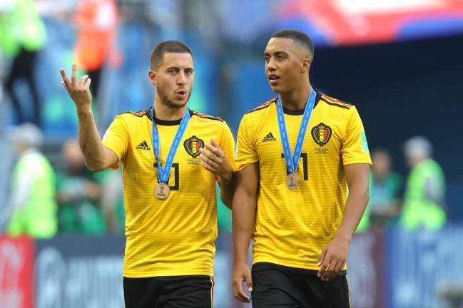 Guess where I'm going | Eden Hazard and Youri Tielemans of Belgium chat after recieving their third place medals after the 2018 FIFA World Cup Russia.