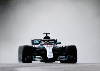 Hamilton leads Mercedes one-two at sodden Hungaroring