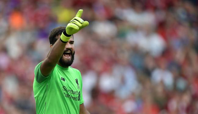 Alisson Becker in Saturday's friendly against Napoli in Dublin.