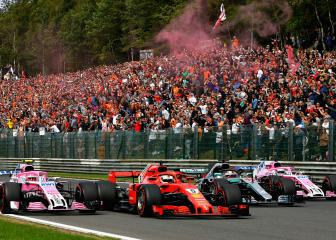 Vettel closes gap after Alonso crash in Belgium