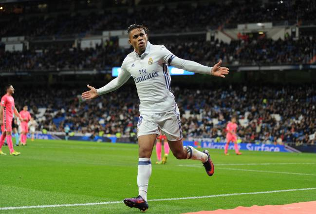 Mariano celebrates after scoring Real's 3rd goal during the Copa del Rey last of 32 match against Cultural Leonesa at the Santiago Bernabeu | November 30, 2016.