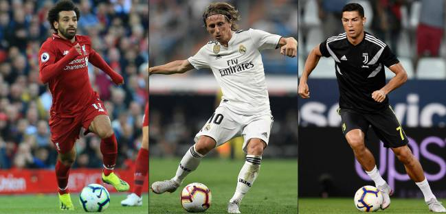 Cristiano Ronaldo faces stiff competition from former Real Madrid team-mate Luka Modric and Egypt's Mohamed Salah to be crowned FIFA's player of the year for a sixth time.