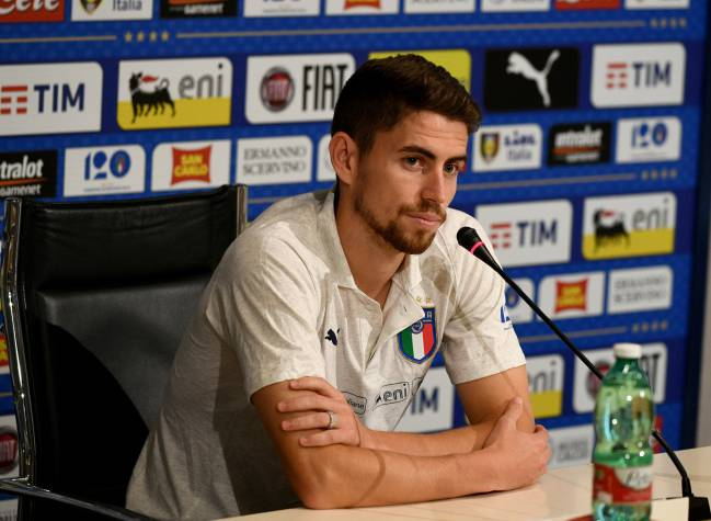 Jorginho speaks with the media during a Italy press conference at Centro Tecnico Federale di Coverciano.