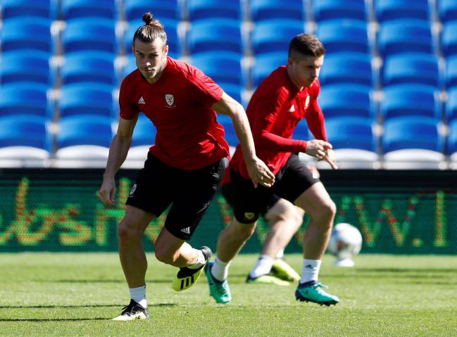 Gareth Bale of Wales during training.