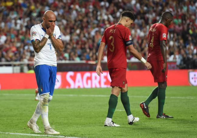 Italy's Simone Zaza rues a missed chance against Portugal.