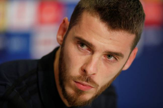 Manchester United's David de Gea during a press conference.