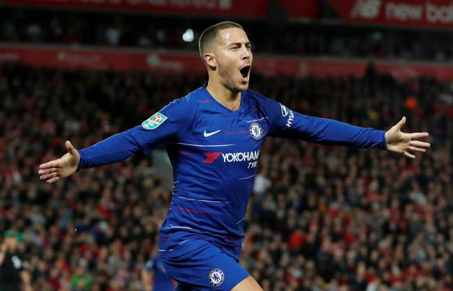 Goal-machine | Chelsea's Eden Hazard celebrates scoring against Liverpool in the EFL Cup.