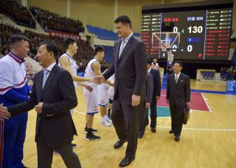 Former NBA star Yao Ming attends basketball friendly in Pyongyang