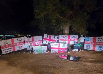 Betis ultras pose with stolen England flags