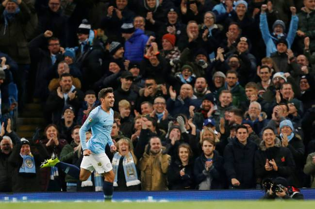 Manchester City's Brahim Díaz celebrates his first goal against Fulham.