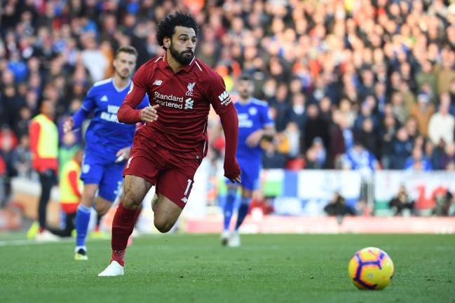 Liverpool's Mohamed Salah in action against Cardiff at Anfield.