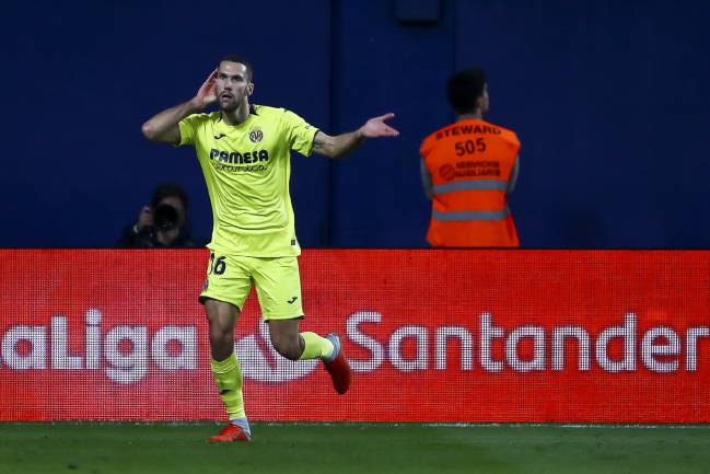 Catching the eye | Alfonso Pedraza of Villarreal CF celebrates after scoring.