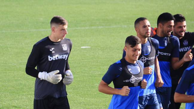 Andriy Lunin, in training with Leganés.