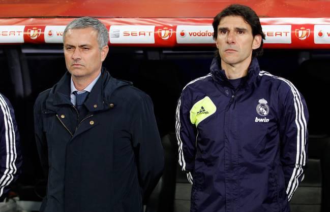 Mourinho and Karanka in the Madrid dugout, 2013.