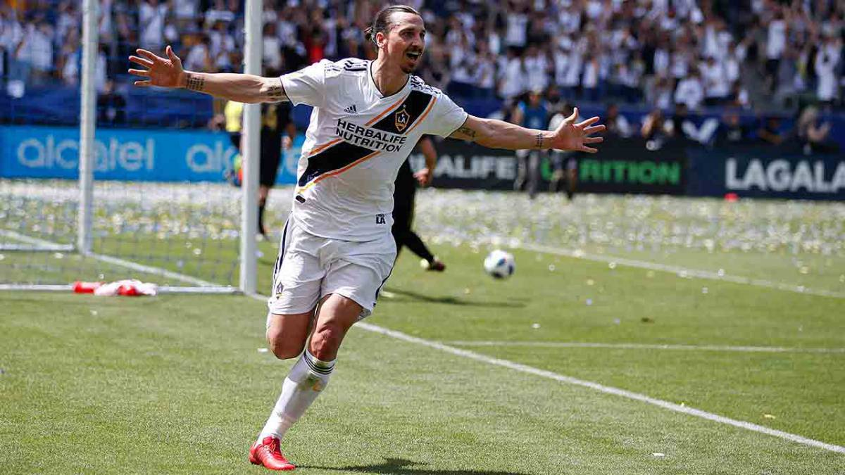 6b9314834 Zlatan Ibrahimovic celebrating after scoring with LA Galaxy