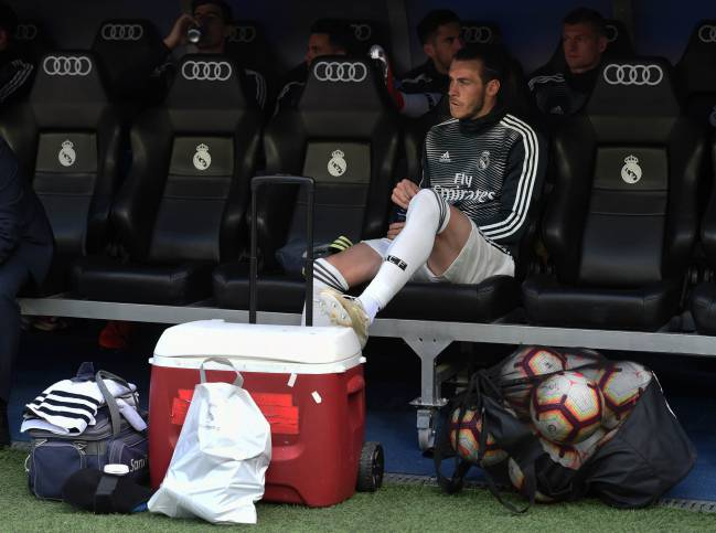 Benched | Gareth Bale of Real Madrid looks on from the substitute bench in what could be his last chance of an appearance.