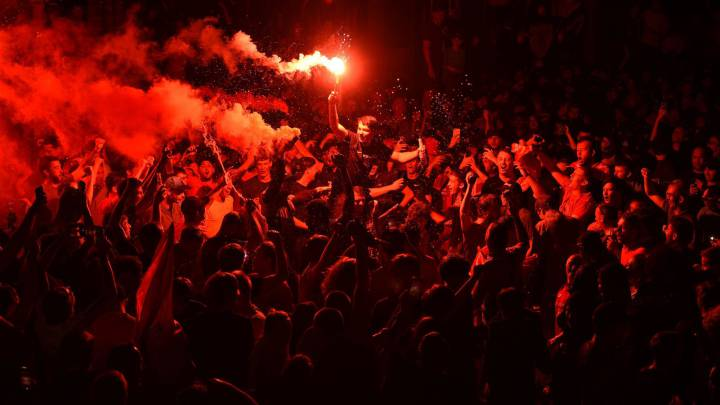 Liverpool glows red as the title party continues into the night