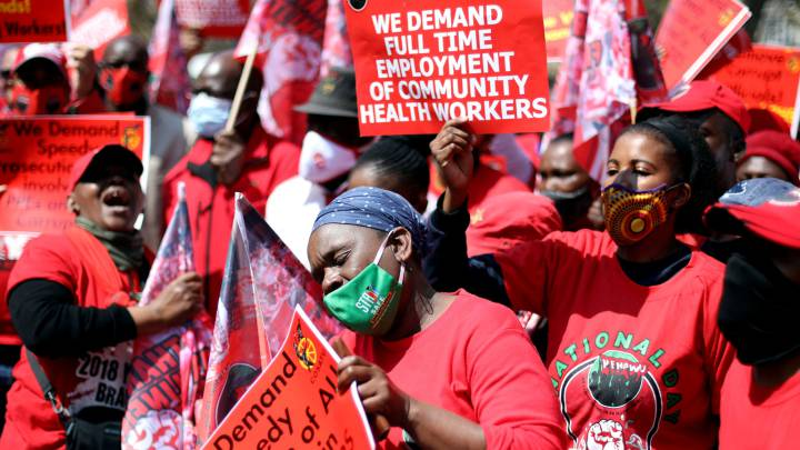 South African health workers hold protests and threaten strike