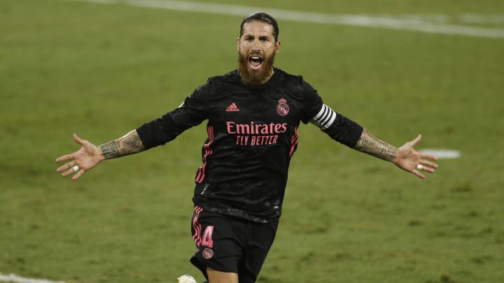 Sergio Ramos celebrates after scoring a late penalty against Real Betis.