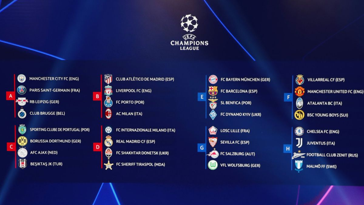 UEFA Champions League 21/22 draw as it happened: group stage pairings and reaction