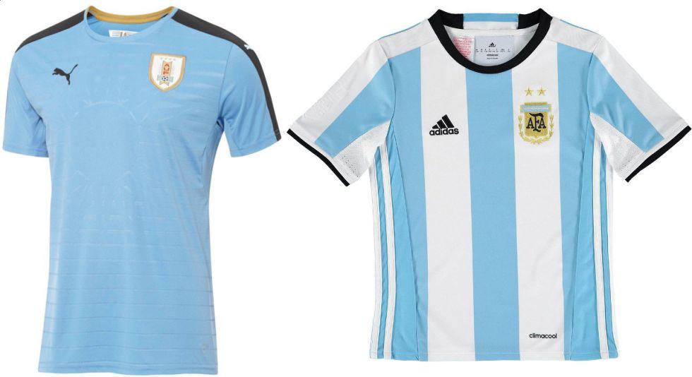 Las camisetas de la selección de Uruguay y la de la selección Argentina. d1c1793cca3ff