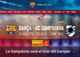 Sampdoria, Barça's guests for the Trofeo Gamper on 10 August