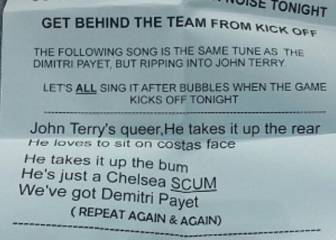 Hammers fans' homophobic flyer targets Chelsea's Terry