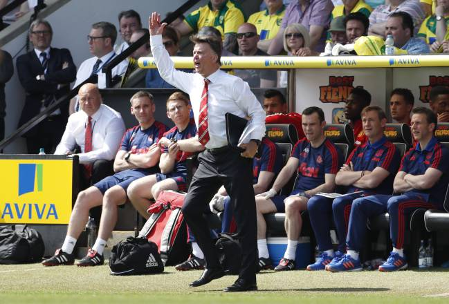 Van Gaal in the dugout with Manchester United - his final job in management.