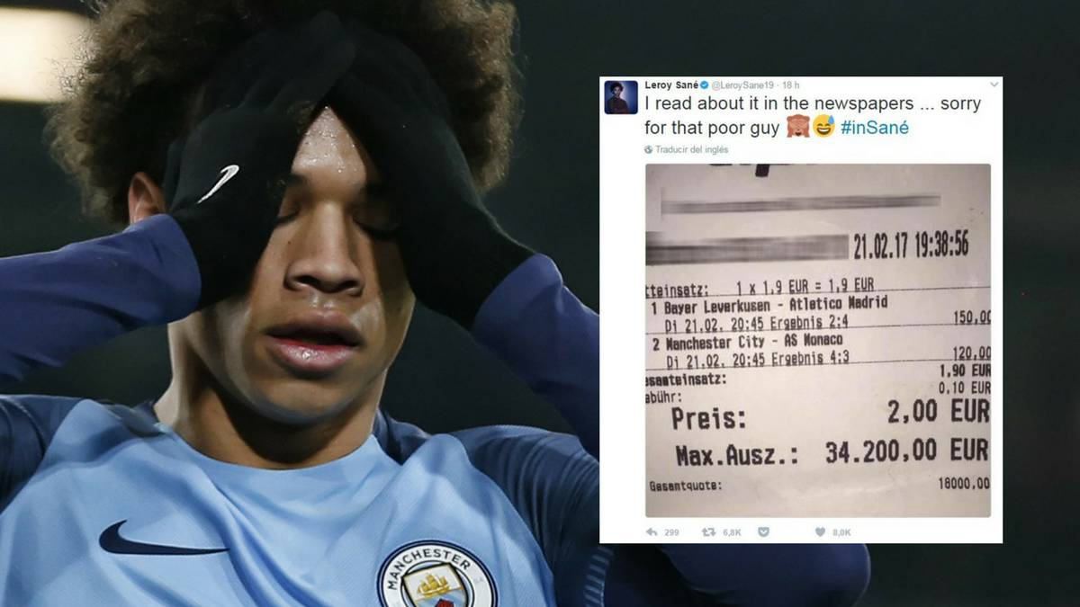 Sané apologises after goal costs better 34,200 euros in winnings