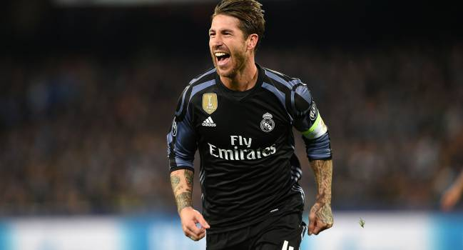 Sergio Ramos of Real Madrid celebrates after scoring goal 1-2 during the UEFA Champions League Round of 16 second leg match between SSC Napoli and Real Madrid CF at Stadio San Paolo on March 7, 2017 in Naples, Italy.