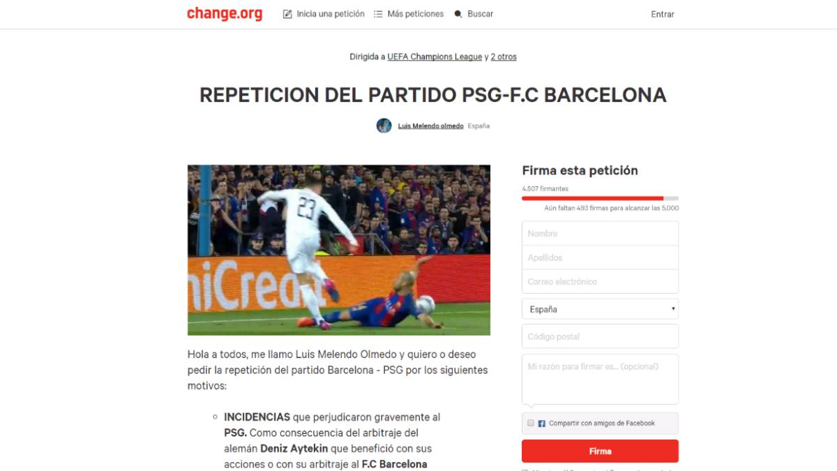 Petition created on change.org to get Barcelona vs PSG replayed