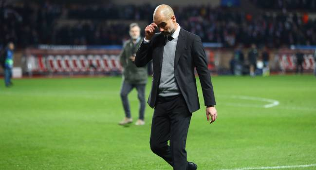 Josep Guardiola manager of Manchester City looks dejected in defeat after the UEFA Champions League Round of 16 second leg match between AS Monaco and Manchester City FC at Stade Louis II on March 15, 2017 in Monaco, Monaco. Monaco won by 3 goals to 1 and progress to the quarter finals on the away goals rule.