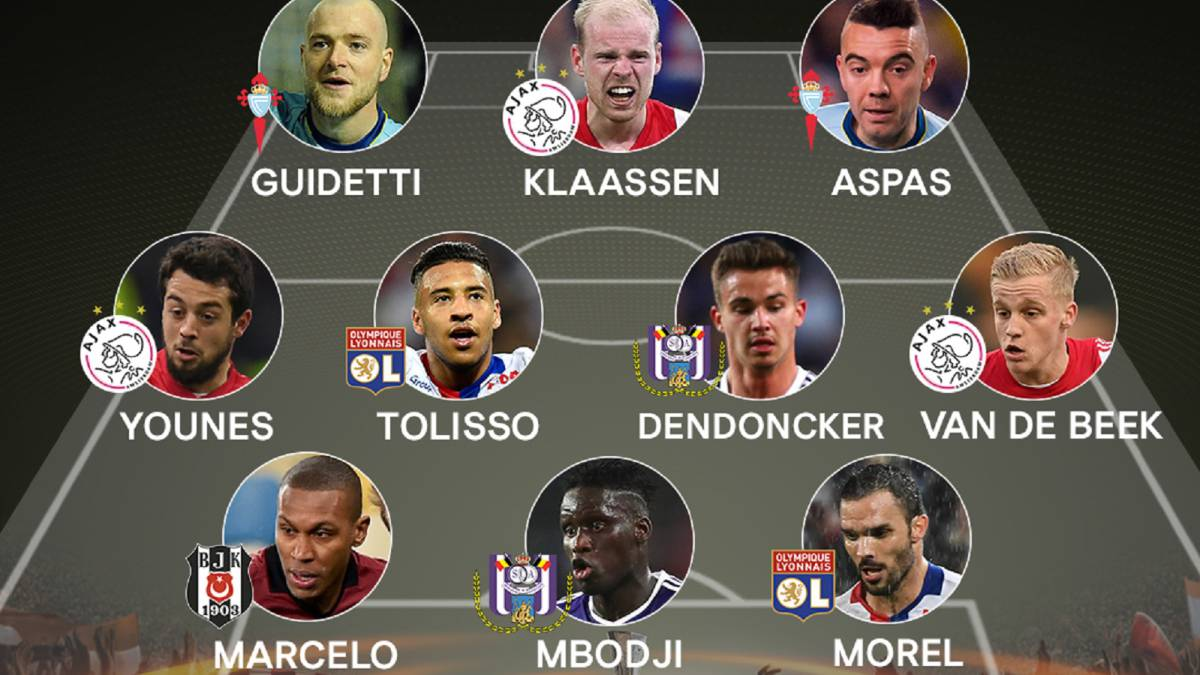 El once ideal de la ida de cuartos de final de la Europa League.