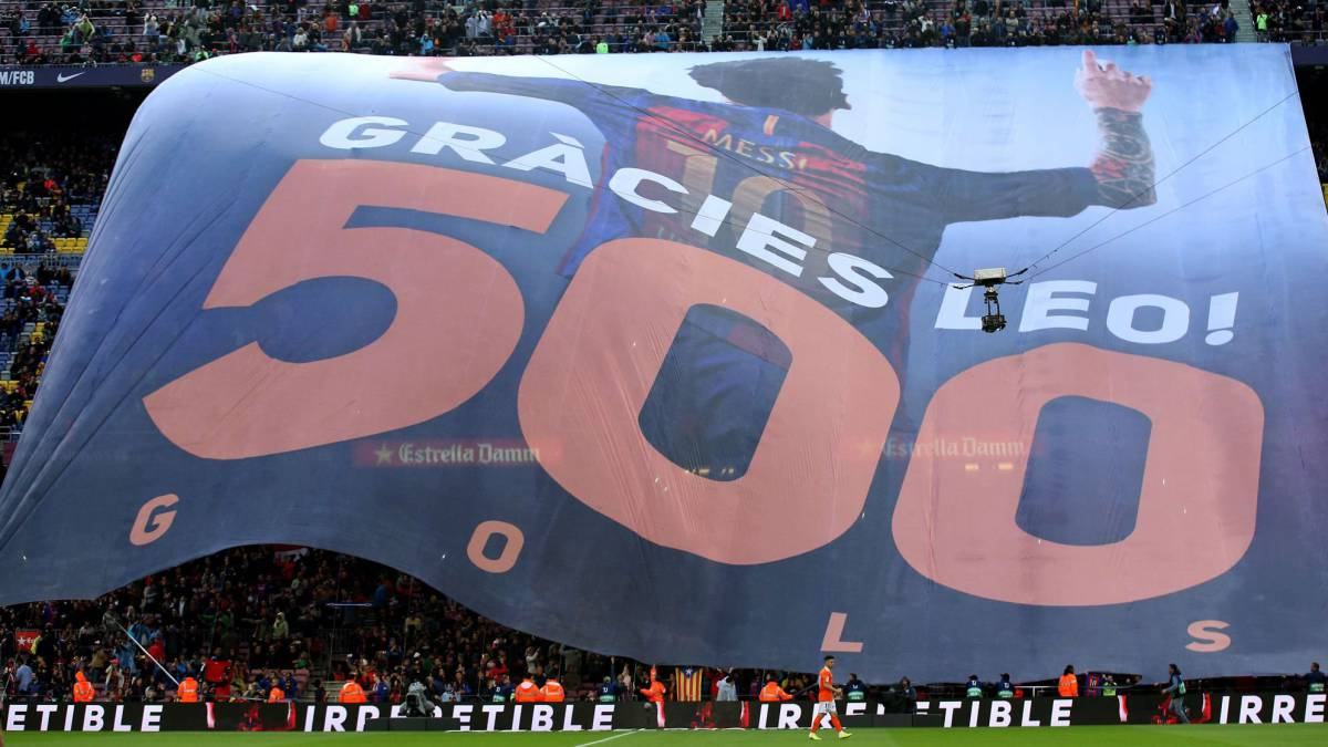 Camp Nou congratulates Messi on 500 goals