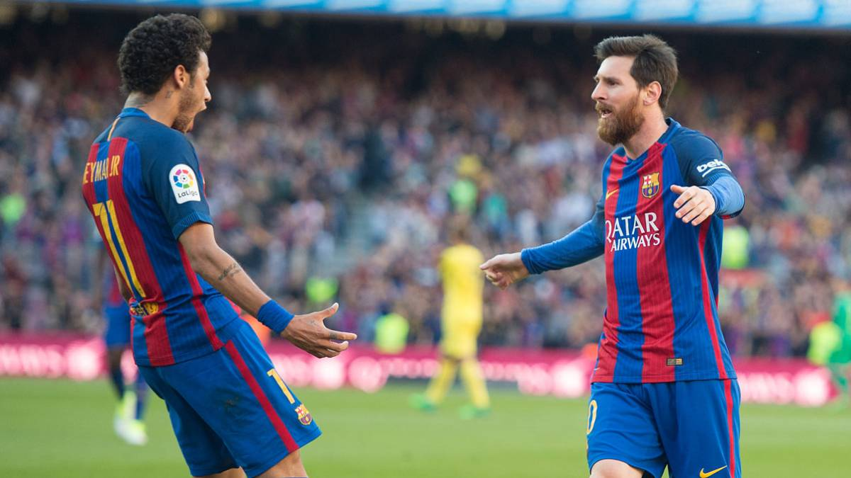Lionel Messi of FC Barcelona celebrates with Neymar after scoring his team's 2nd goal during of the La Liga match between FC Barcelona and Villarreal CF at Camp Nou stadium on May 6, 2017 in Barcelona, Spain