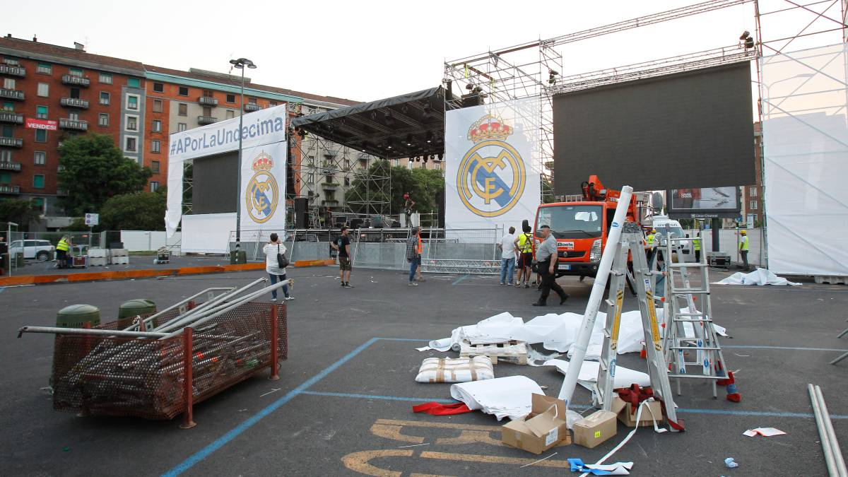 'Fan zone' del Real Madrid en Milán.