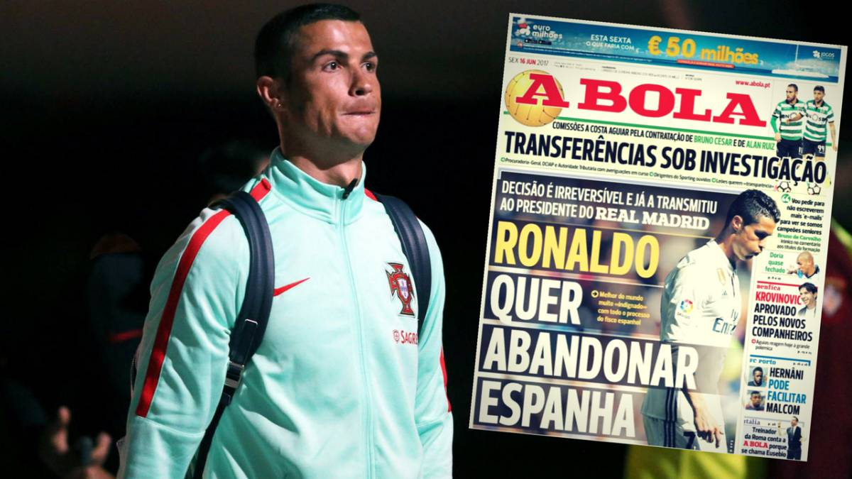 Cristiano Ronaldo on the cover of 'A Bola' on Friday, 16 June 2017.