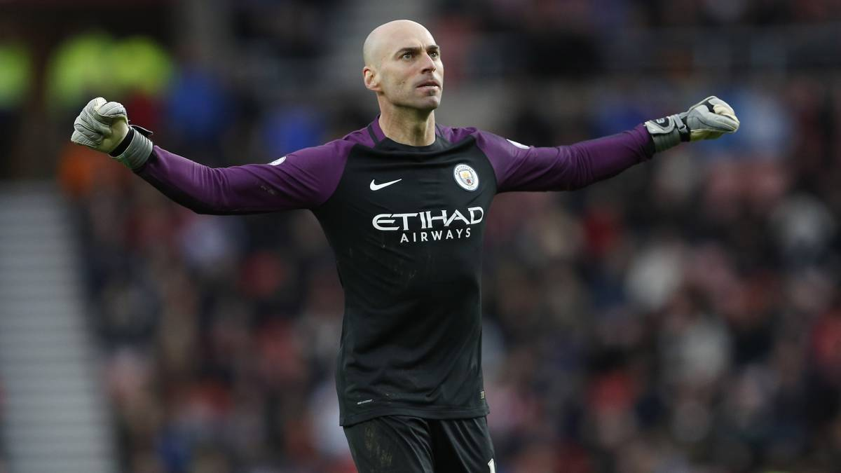 Willy Caballero con el Manchester City.