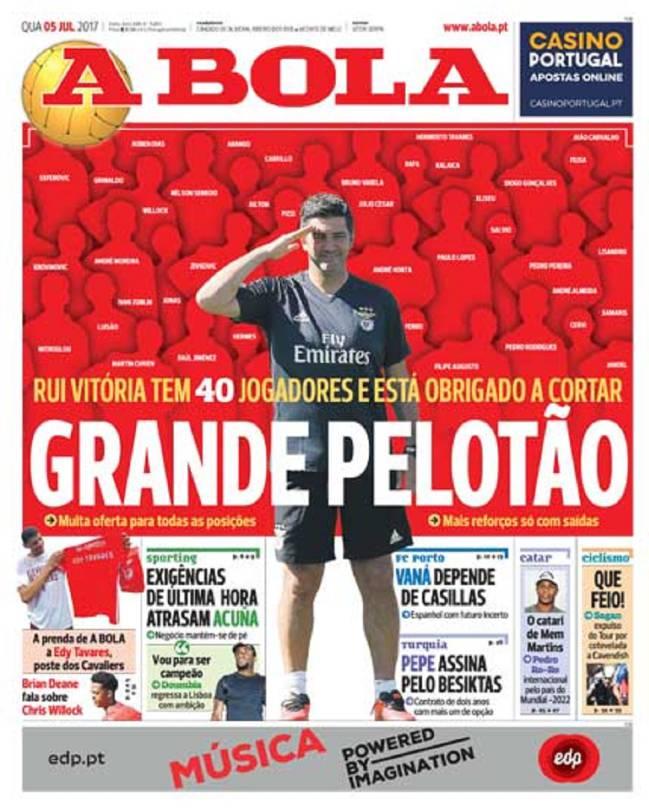 Portada del diario A Bola del día 5 de julio de 2017. Vaná sería el sustituto de Iker Casillas.