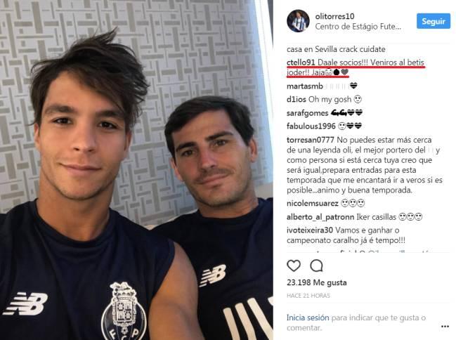 El mensaje de Tello en el Instagram de Óliver Torres.